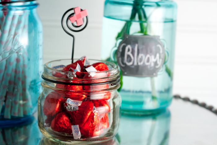 Mason Jar filled with Hershey Kisses