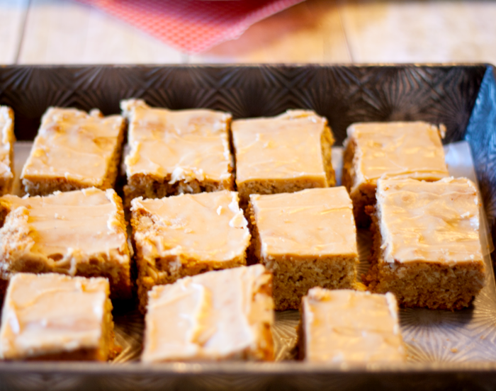 Peanut Butter Bars in tray