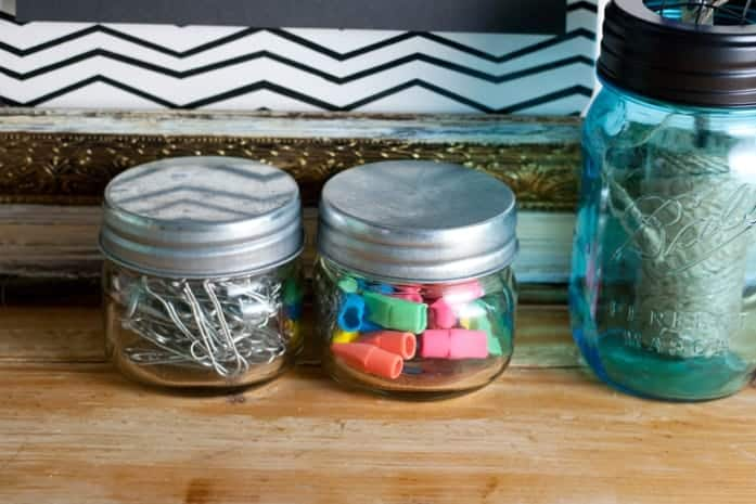 Small glass jar desk organizers from cupcakesandcrinoline.com