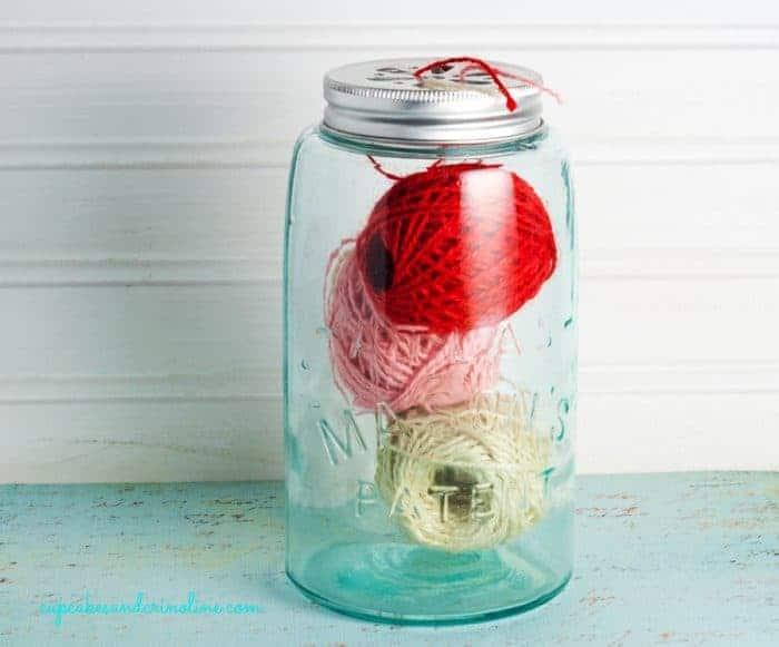 Vintage Atlas Mason Jar with Twine from cupcakesandcrinoline.com