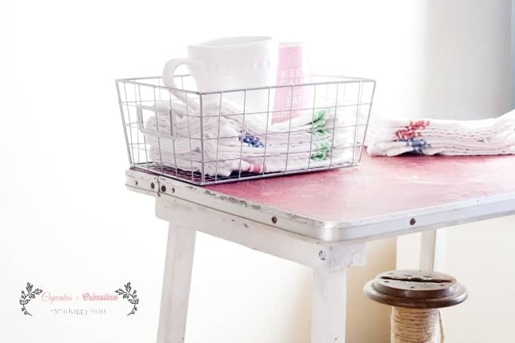 Wire basket, grain sack cloths and vintage kitchen table