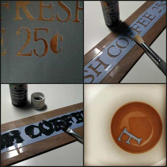 Cricut Cartridge Used to Make Stencil for Coffee Box from cupcakesandcrinoline.com