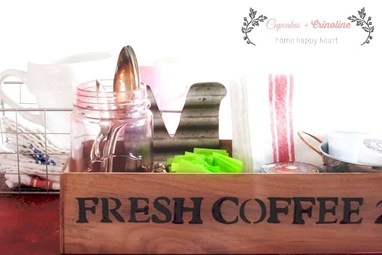Coffee Station Organization using a DIY wooden box made from scraps. cupcakesandcrinoline.com