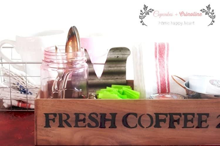 Coffee Station Organization using a DIY wooden box made from scraps. cupcakesandcrinoline.com