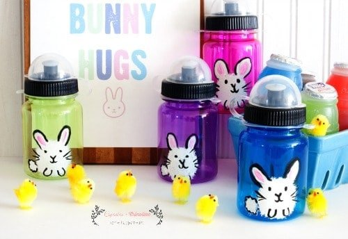 Free Bunny Hugs Printable and instrucitons on how to make these cute hand-painted bunny water bottles ~ perfect for Easter and Spring from cupcakesandcrinoline.com