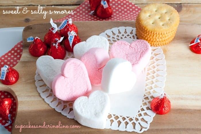 Heart-shaped marshmallows for sweet & salty s'mores from cupcakesandcrinoline.com