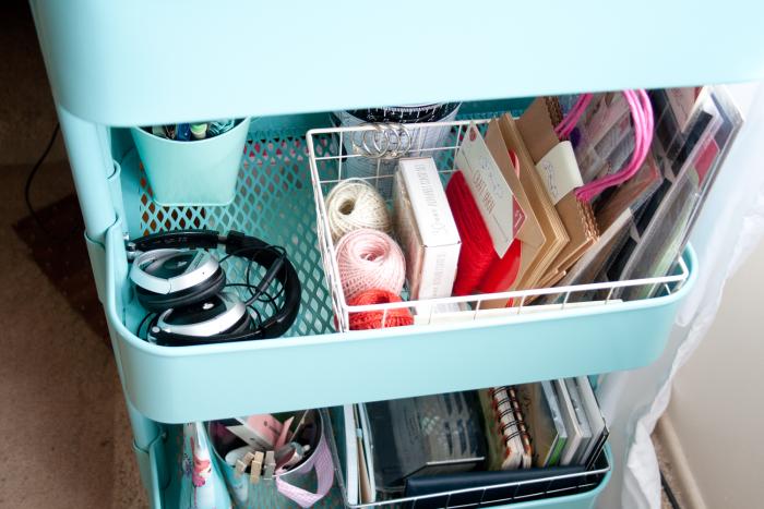Utility cart organizing with an Ikea Raskog - cupcakesandcrinoline.com