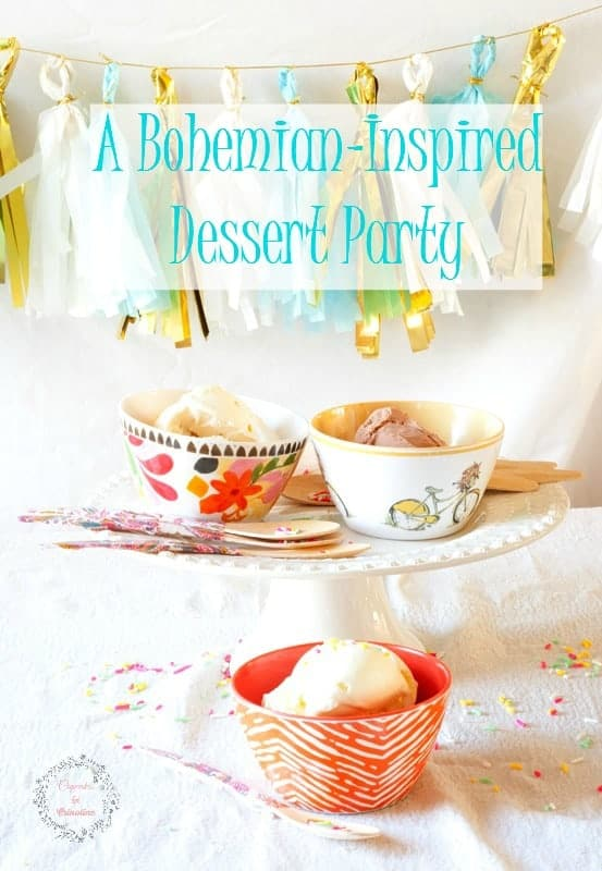 Bohemian Dessert Party ~ paisley covered wooden spoons and Bohemnian inspired bowls #FrozenCustardTime #ad cupcakesandcrinoline.com