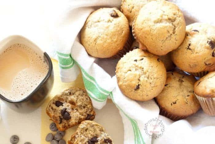 Coffee Chocolate Chip Banana Muffins from cupcakesandcrinoline.com