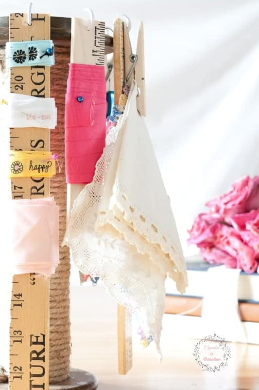 Craft Room Organizing with a Vintage Industrial Spool from cupcakesandcrinoline.com #BestofDIY #Vintage