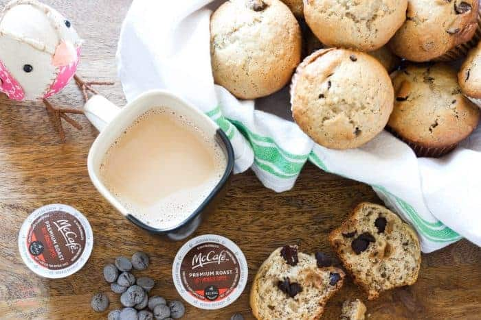 Banana Chocolate Chip muffins with a secret ingredient ~ fresh coffee! from cupcakesandcrinoline.com #McCafeMyWay #ad