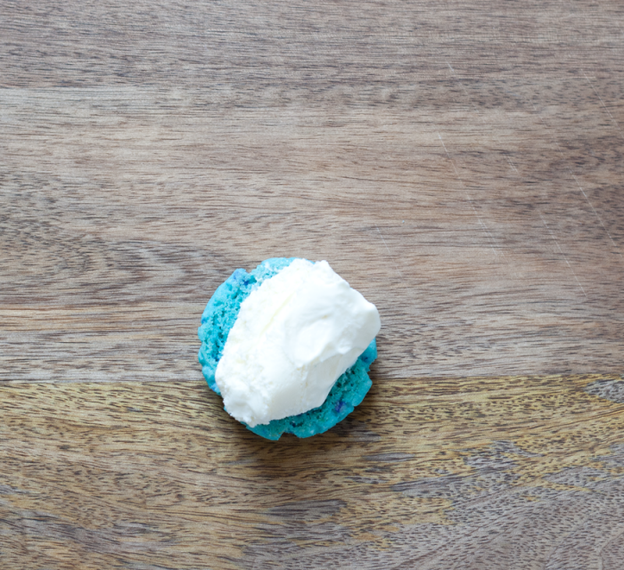 Blue raspberry cookie with a scoop of ice cream smack dab in the center - it's ice cream party time!