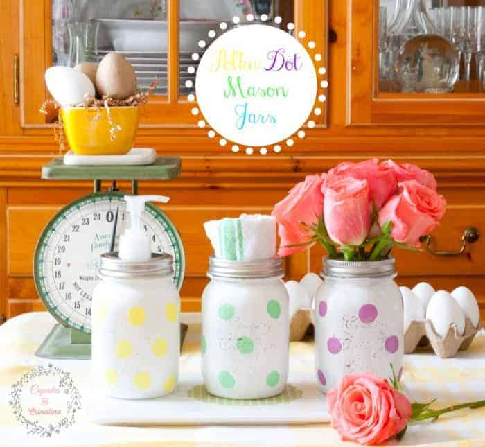 Polka Dot Mason Jars for the Kitchen from cupcakesandcrinoline.com