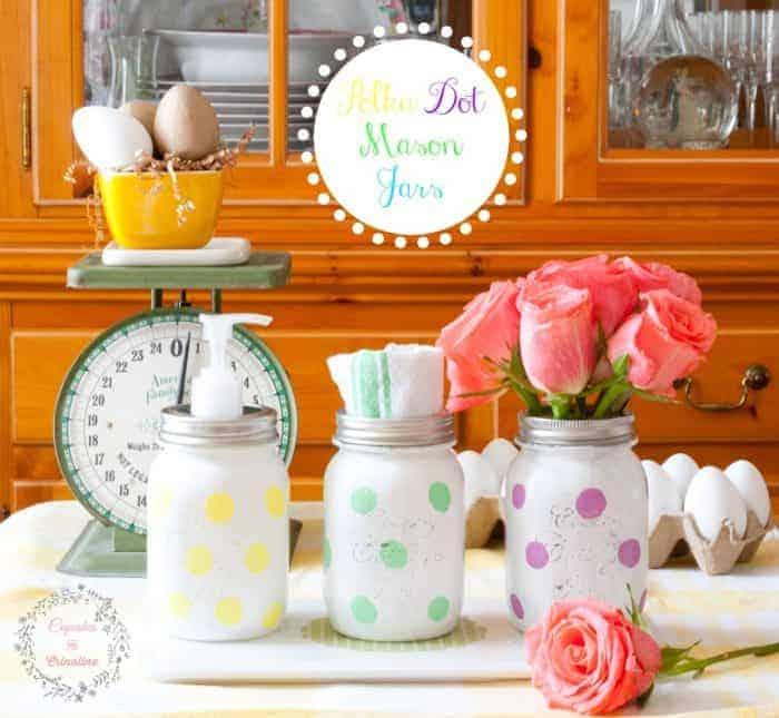 Polka Dot Mason Jars for the Kitchen from cupcakesandcrinoline.com