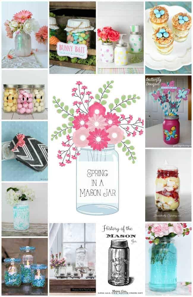 Spring in a Mason Jar~ Mason Jar Ideas to Celebrate Spring cupcakesandcrinoline.com