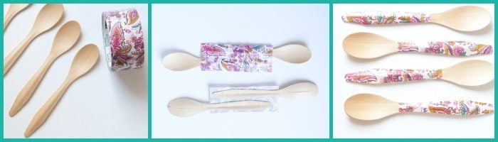 Tape Covered Wooden Spoons from cupcakesandcrinoline.com