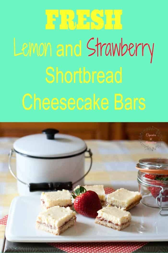 Fresh Lemon and Strawberry Shortbread Cheesecake Bars from cupcakesandcrinoline.com