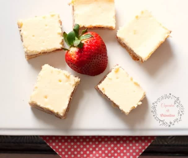 Fresh Lemons and Strawberries ~ Shortbread Cheesecake Bars from cupcakesandcrinoline.com