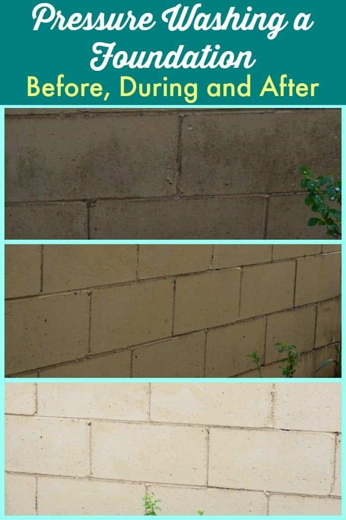 Pressure Washing a Foundation - Before, During and After from cupcakesandcrinoline.com #ad #ZepSocialstars