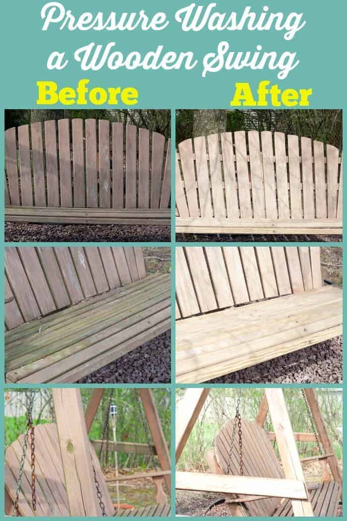 Pressure Washing a Wooden Swing before and after from cupcakesandcrinoline.com #ad #ZepSocialstars