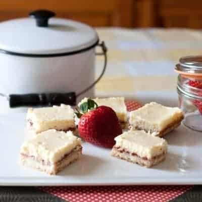 Strawberry and Lemon Shortbread Cheesecake Bars