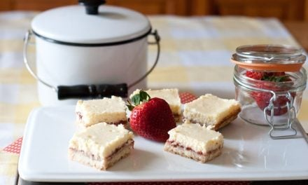 Strawberry and Lemon Shortbread Cheesecake Bars
