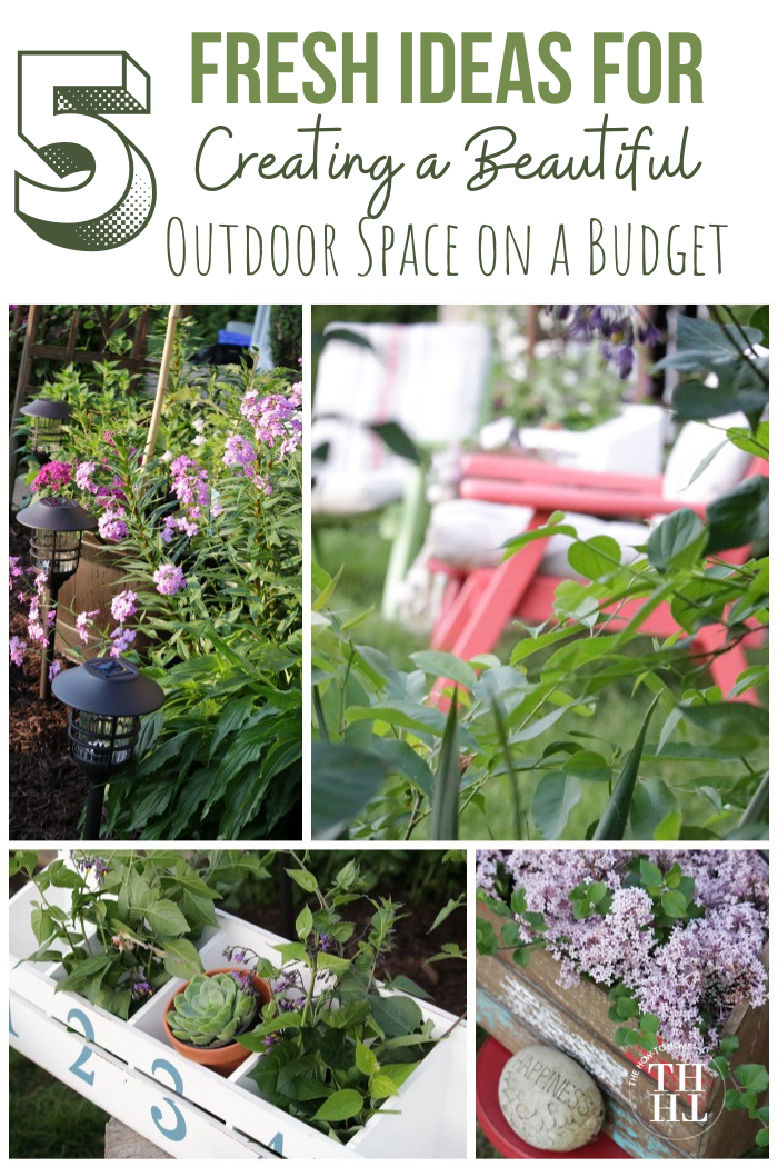 Collage of beautiful outdoor living space ideas including lots of flowers and comfy seating