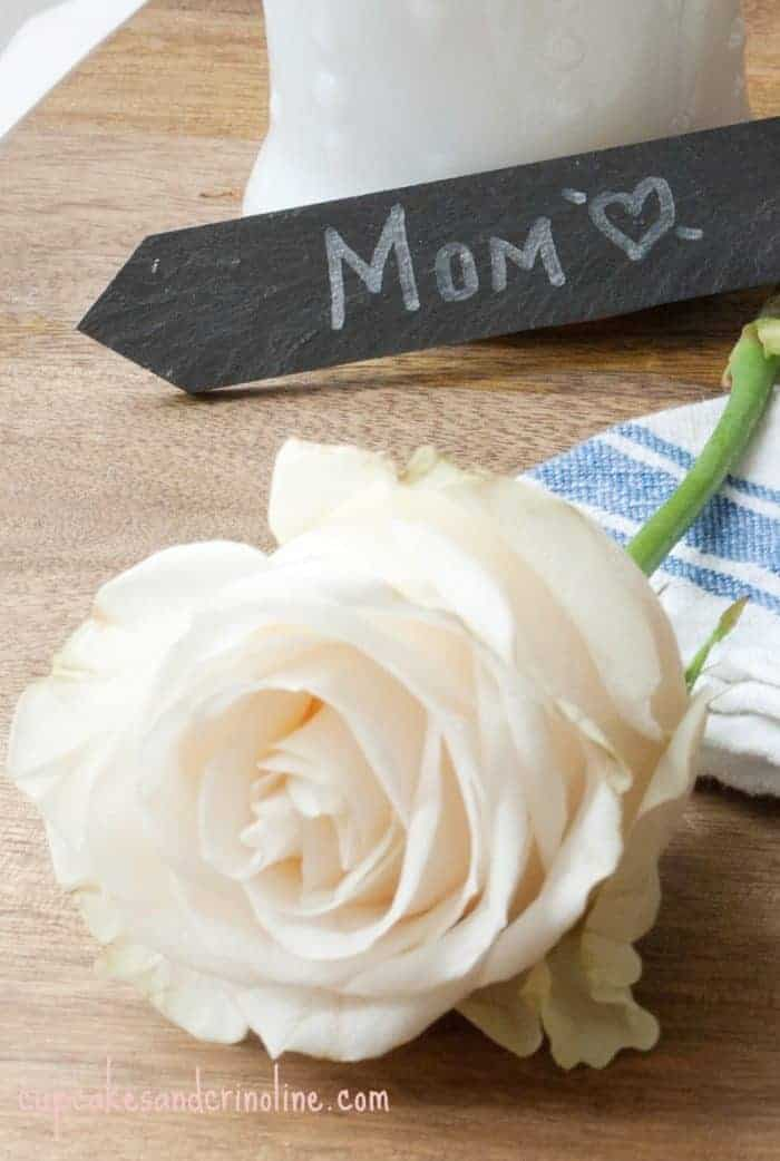 A single white rose for Mom ~ shabby chic, Mother's Day ~ from cupcakesandcrinoline.com