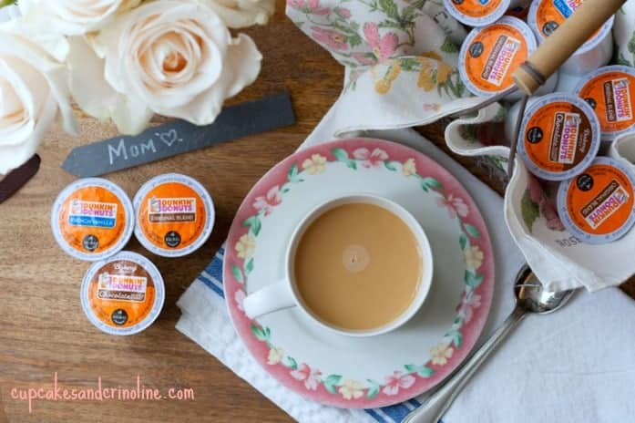 Fresh cup of coffee on vintage napking with fresh white roses and vintage cutting board ~ cupcakesandcrinoline.com