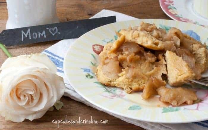 Mother's Day Breakfast ~ baked apple pancake, roses and fresh coffee ~ from cupcakesandcrinoline.com
