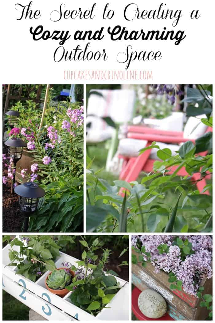 The Secret to Creating a Cozy and Charming Outdoor Space from cupcakesandcrinoline.com