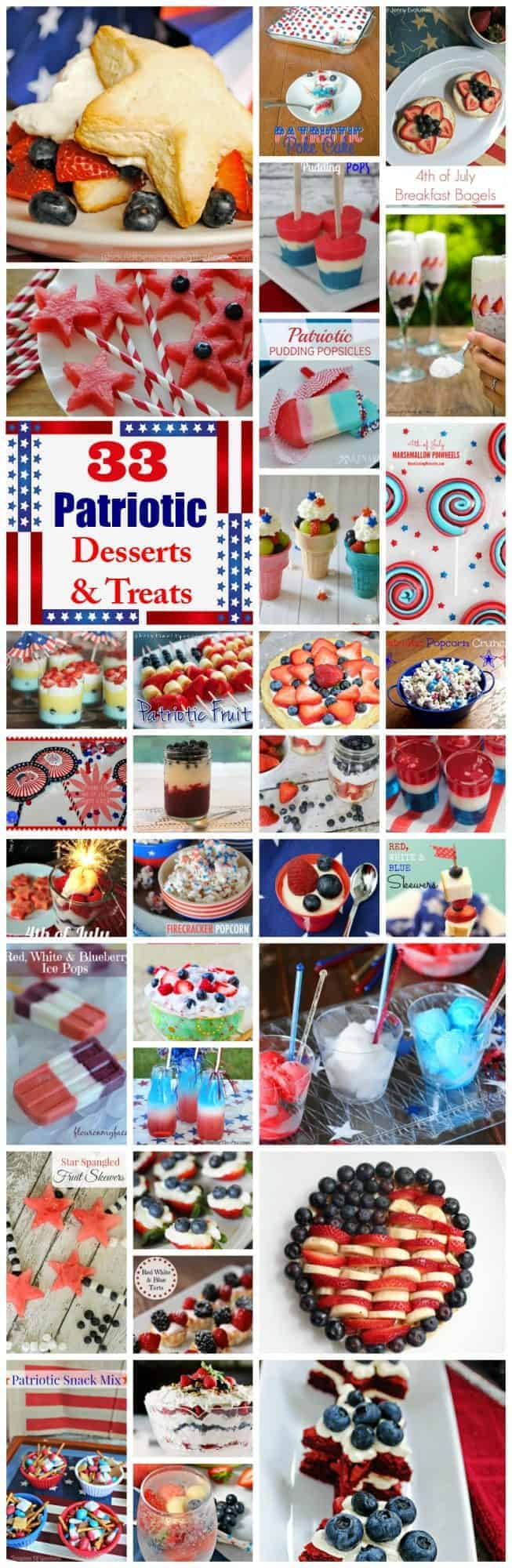 33 fabulously tasty patriotic desserts and treats. These are perfect to serve at summer picnics or any time you're entertaining.