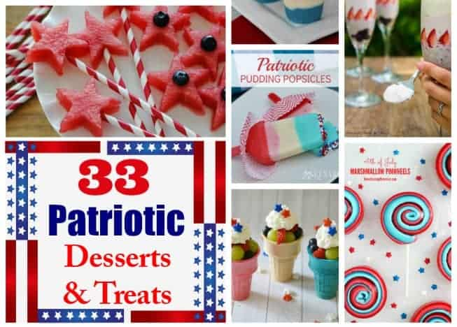 33 patriotic red, white, and blue desserts and treats. These recipes are perfect for summer picnics and entertaining.