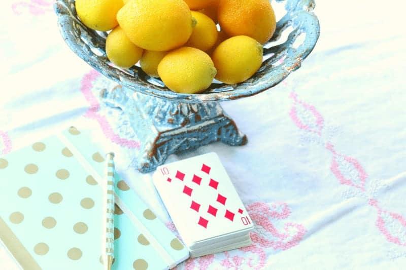 Bowl of lemons on a summer table cupcakesandcrinoline.com