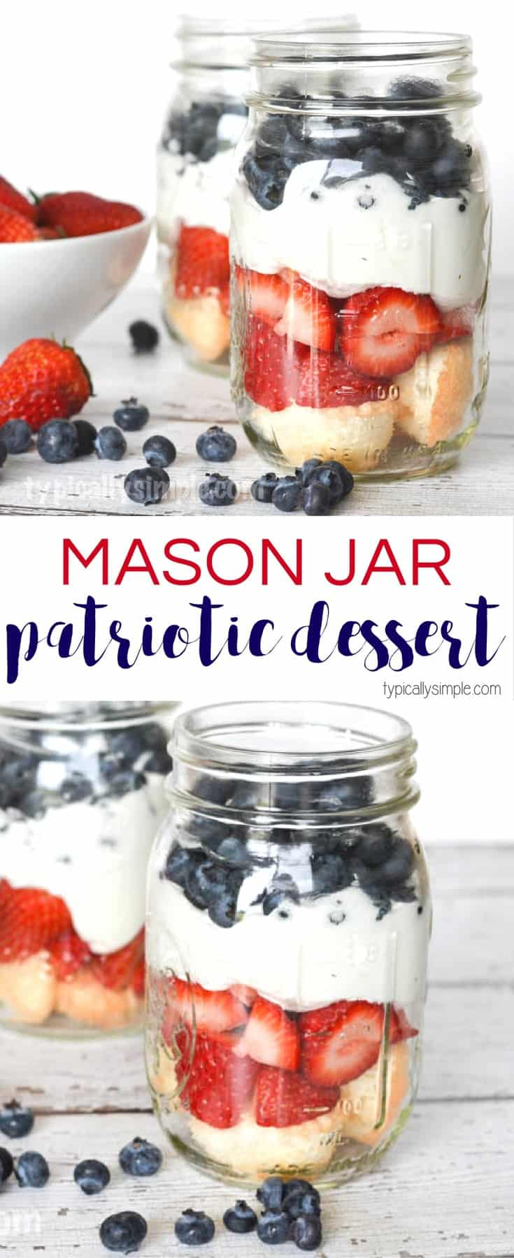 Patriotic red, white and blue mason jar dessert