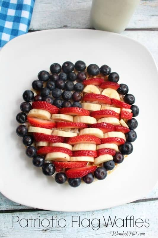 Patriotic Fruit Flag Waffles
