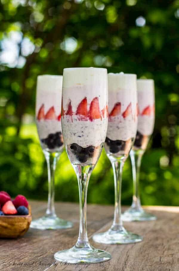 Red, white and blue chocolate mousse!