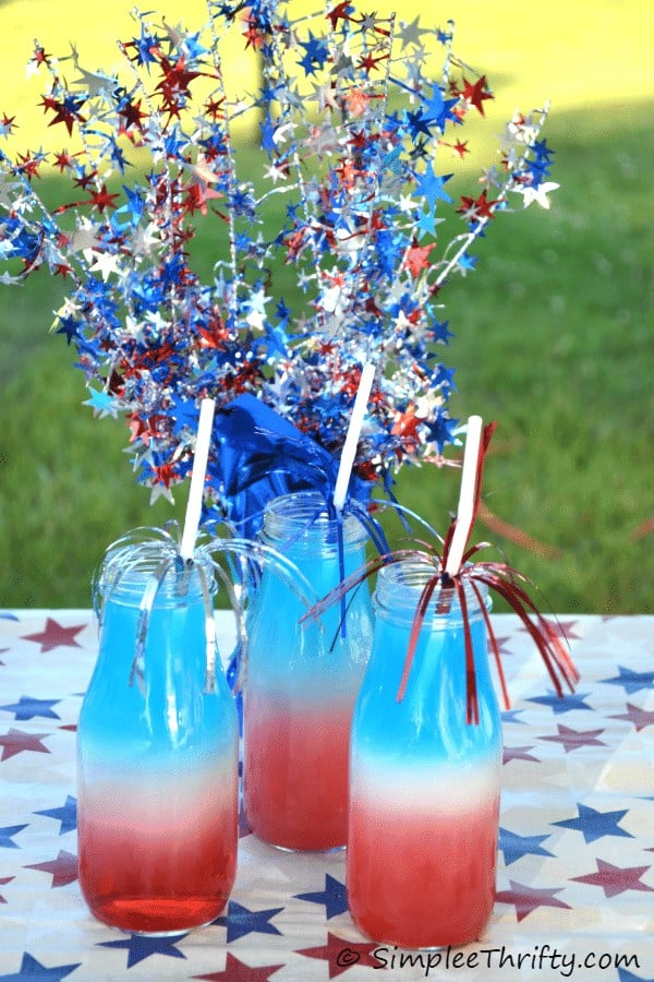 Red, white and blue drinks