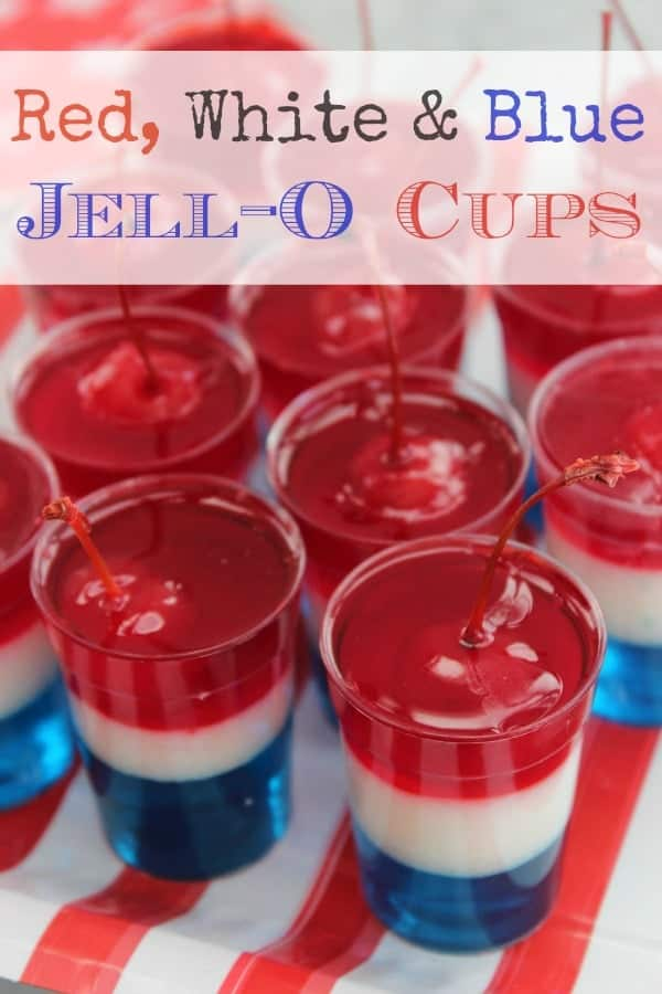 Red, white, and blue, Jell-O cups - patriotic dessert