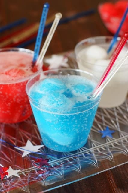 Red, white, and blue Italian ice floats