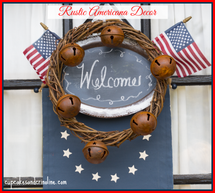 Rustic Americana Door Decor with chalkboard at cupcakesandcrinoline.com