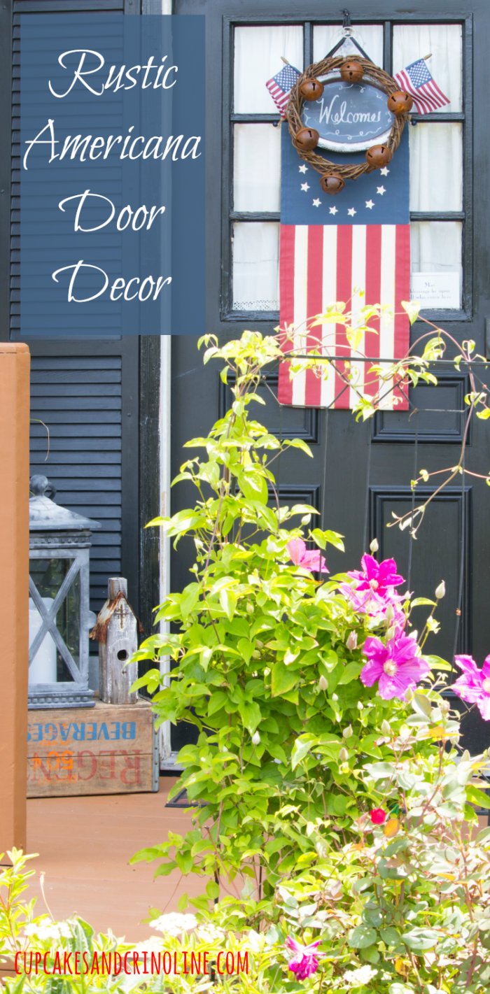 Rustic Americana Door Decor with chalkboard center and smaller American flags at cupcakesandcrinoline.com