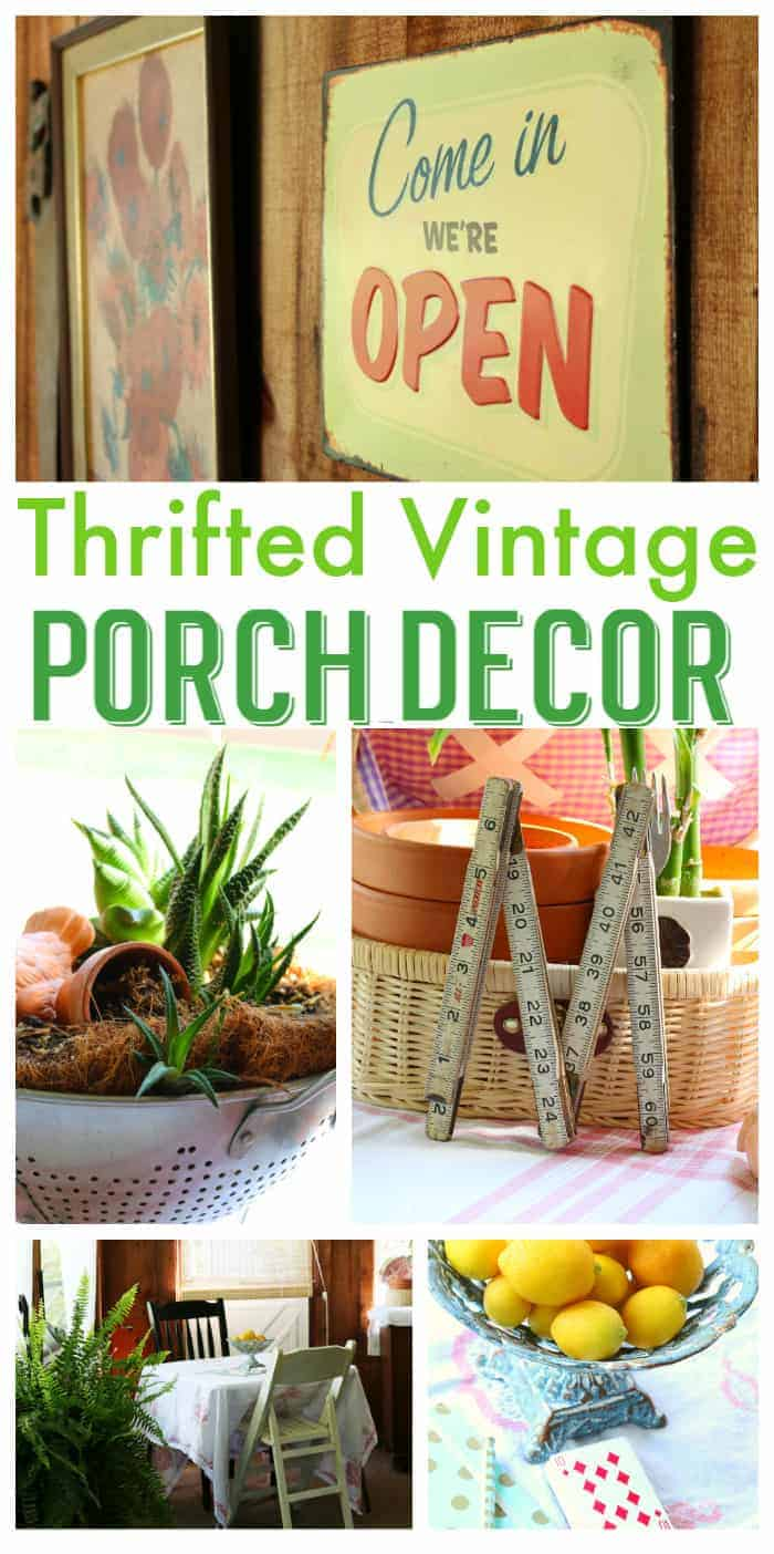 Collage of thrifted vintage porch decor