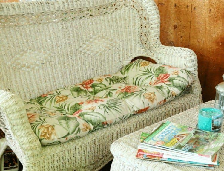 Wicker Sofa and coffee table cupcakesandcrinoline.com
