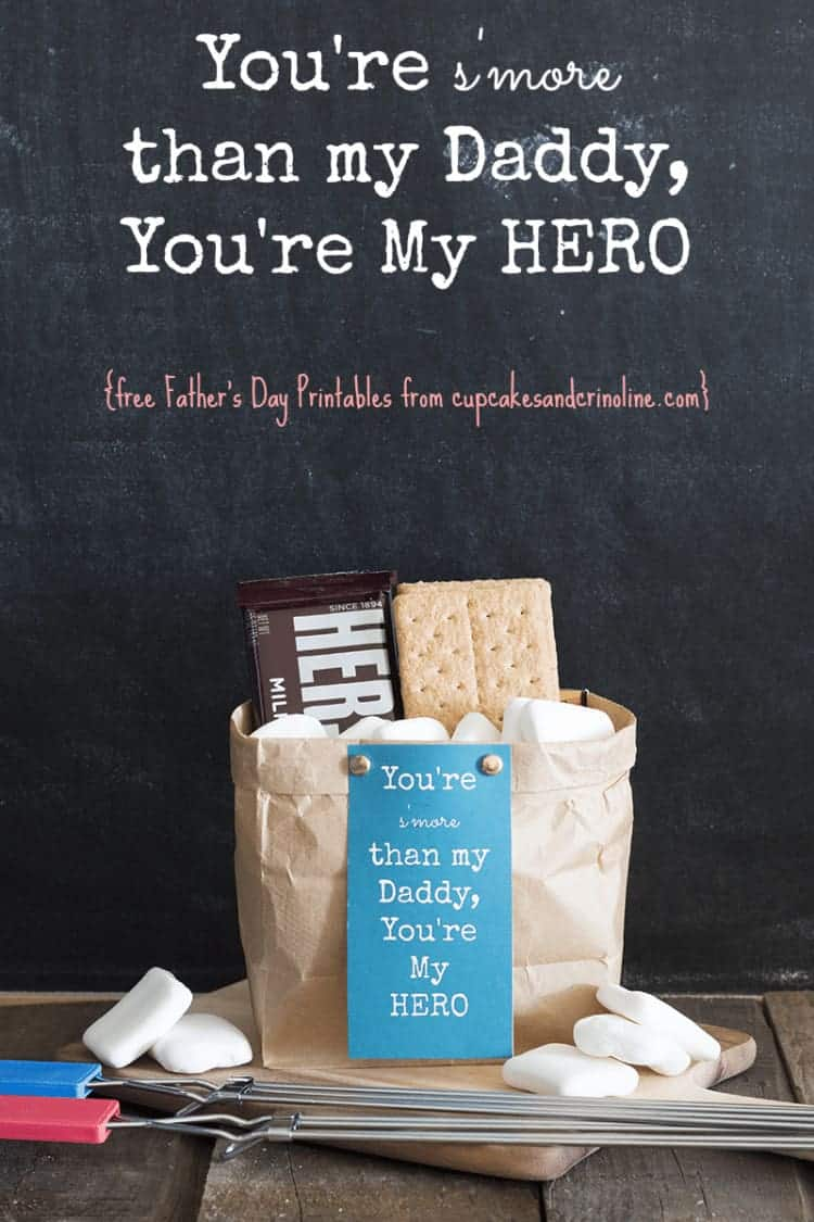 You're s'more than my Daddy, You're my HERO from cupcakesandcrinoline.com