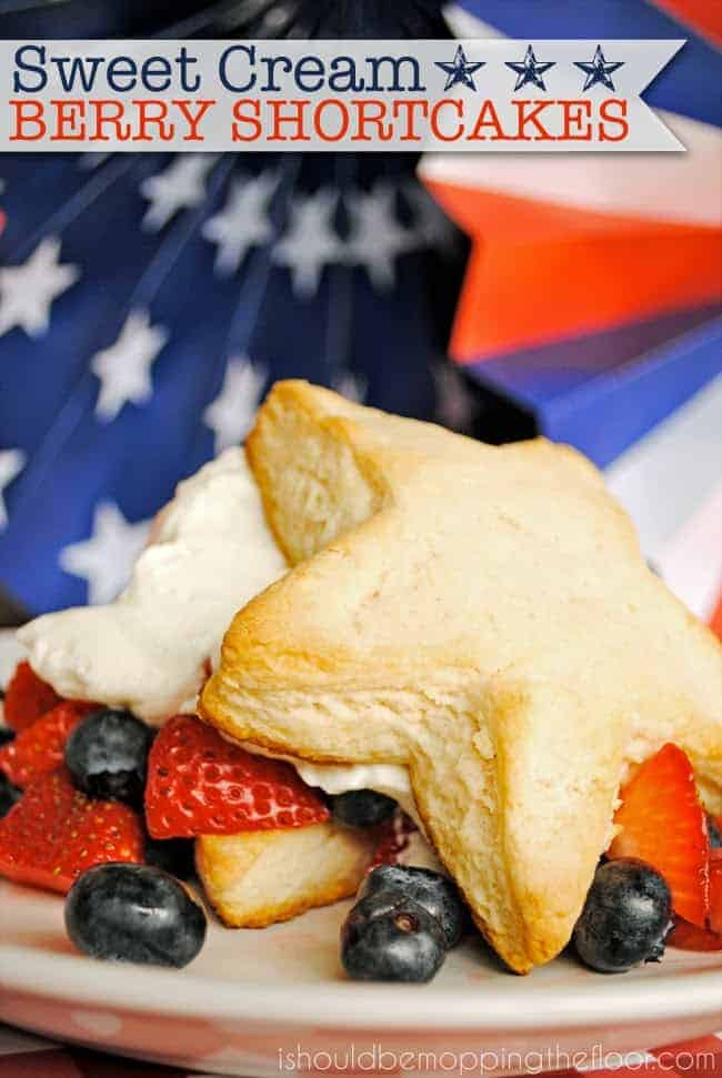 Sweet Cream Star-Shaped Berry Shortcakes - perfect for celebrating the red, white and blue!