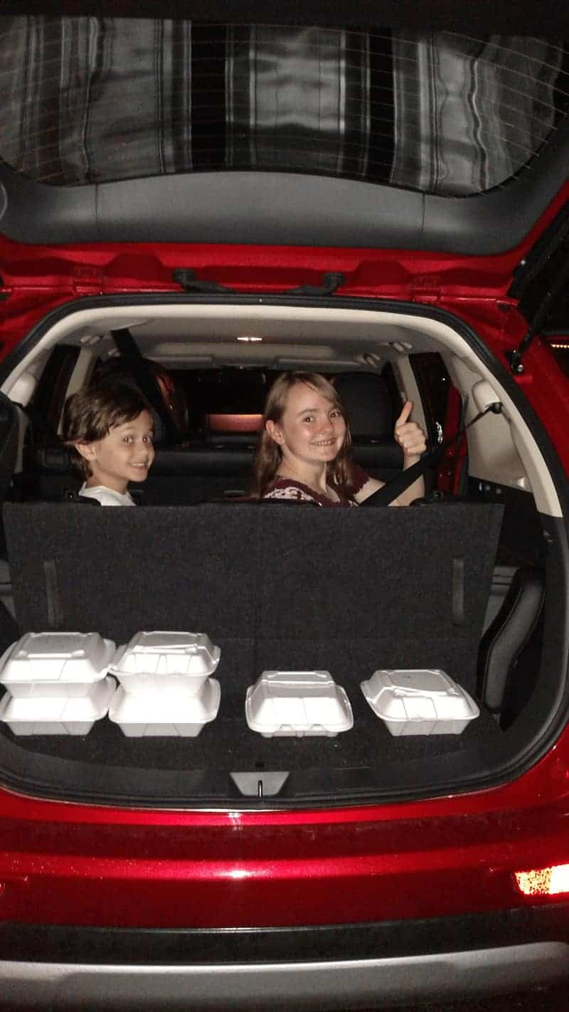 2015 Mitsubishi Outlander third row seats up and still room for leftovers