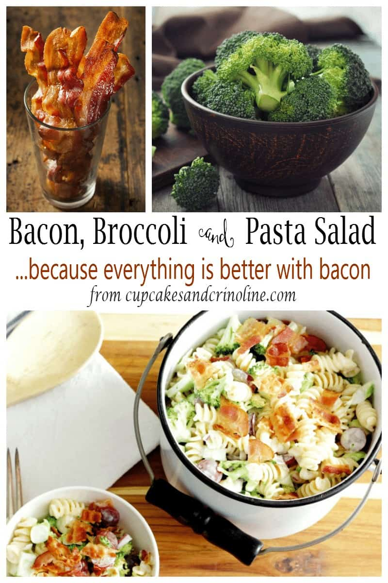 Broccoli and pasta salad with warm bacon ~ the perfect recipe for summer entertaining from cupcakesandcrinoline.com
