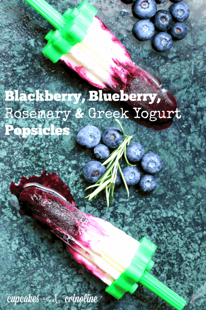 Delicious blackberry, blueberry, rosemary and Greek yogurt ~ a great snack for kids or even breakfast ~ get the recipe at https://cupcakesandcrinoline.com/2015/07/15/blackberry-blueberry-and-greek-yogurt-popsicles/