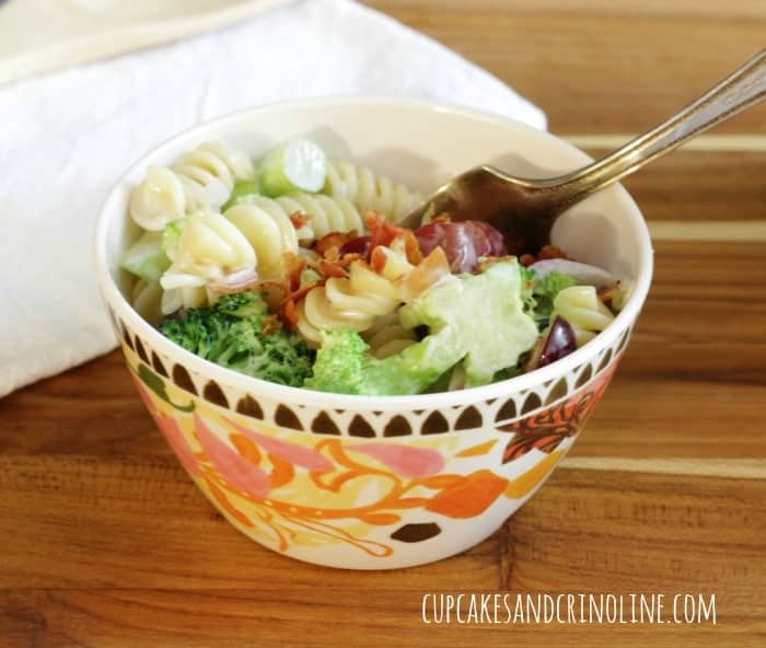 Broccoli and Pasta Salad with Bacon from cupcakesandcrinoline.com